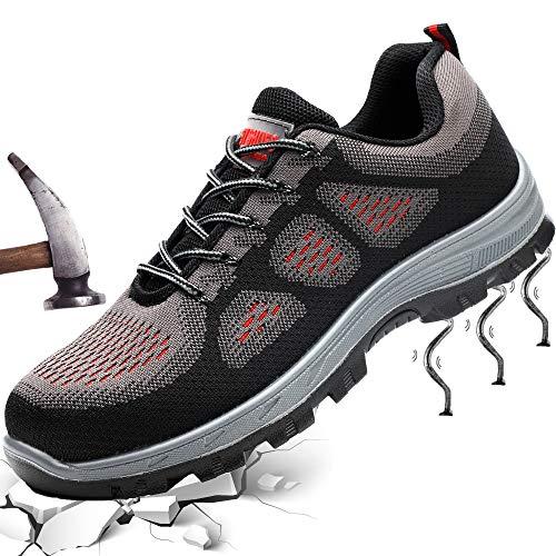 Fish&Fairy Sicherheitsschuhe Herren Damen Arbeitsschuhe Stahlkappe Schutzschuhe Leicht Atmungsaktiv Sportlich Traillaufschuhe Grau 36