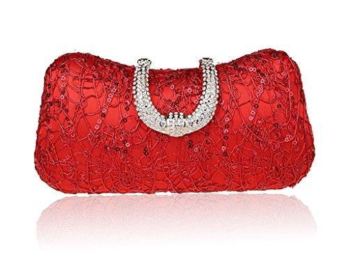 La borsa femminile nuova borsa a mano vestito bag sposa banchetto di sera di modo diamante fibbia borsa ( Colore : Nero ) Rosso