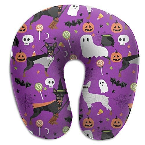 n Dogs Halloween Miniature Pinscher Costume Purple Memory Foam U Neck Pillow for Lightweight Support In Airplane,Car,Train,Bus ()