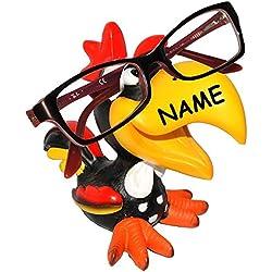 """Brillenhalter - """" lustiger bunter Hahn / Vogel - Tukan / Papagei Ara - Gockel """" - incl. Name - universal Größe - stabil aus Kunstharz - lustiger Brillenständer - für Kinder & Erwachsene / Brillenhalterung - für Sonnenbrille Lesebrille - Vögel exotisch / Karibik - Tier lustig - Deko Figur / Urlaub - Haustier - Brillenablage"""