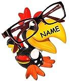 Unbekannt Brillenhalter -  lustiger bunter Hahn / Vogel - Tukan / Papagei Ara - Gockel  - incl. Name - universal Größe - stabil aus Kunstharz - lustiger Brillenstände..