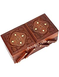 Wood Art Store Pebble Crafts Jewellery Box For Women Wooden Flip Flap Handmade Gift, 8 Inches