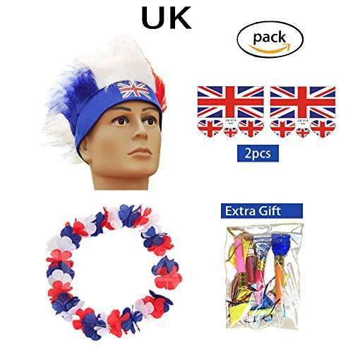 Haar Perücken 2018 WM Fußball Fußball Fans Kits Party Halloween Cosplay Kostüm Farbe Flagge Stirnband (UK)