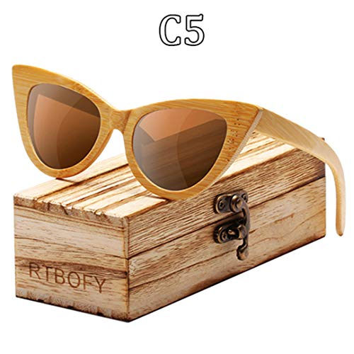 DAIYSNAFDN Holz Sonnenbrille Frauen Bambus Rahmen Cat Eye Stil Brille Polarisierte Gläser Brille Vintage C5