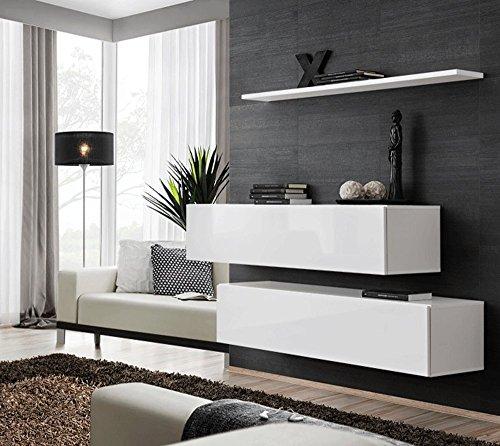 Elbectrade blasco mobile sospeso, malto.2 mobili e 1 mensola. mobili sospesi per soggiorno finitura tutto bianco o tutto nero
