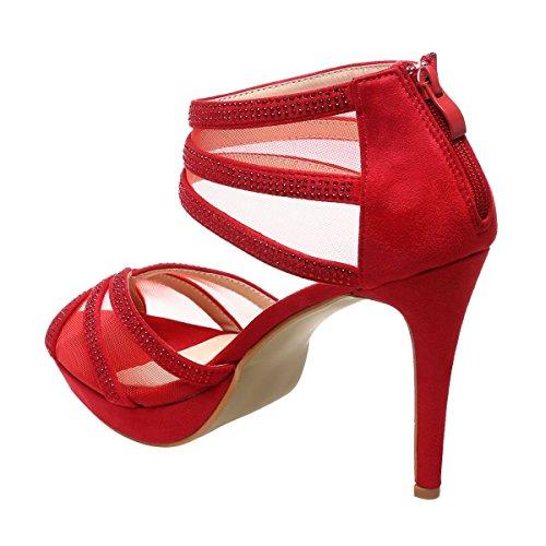 La Modeuse - Sandales scintillantes grande taille à talon fin et plateforme Rouge