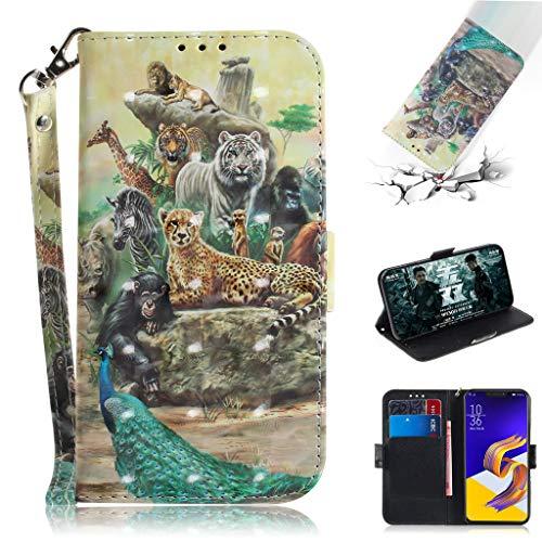 SATURCASE ASUS Zenfone 5 2018 Hülle, 3D PU Lederhülle Ledertasche Magnetverschluss Brieftasche Standfunktion Handy Schutzhülle Handyhülle Hülle für ASUS Zenfone 5 ZE620KL/Zenfone 5z ZS620KL (TD-12)