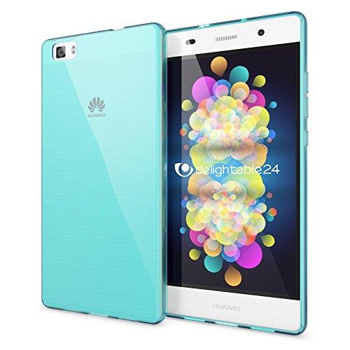 delightable24 Cover Case in Silicone TPU per Smartphone HUAWEI P8 LITE - Transparente / Turchese