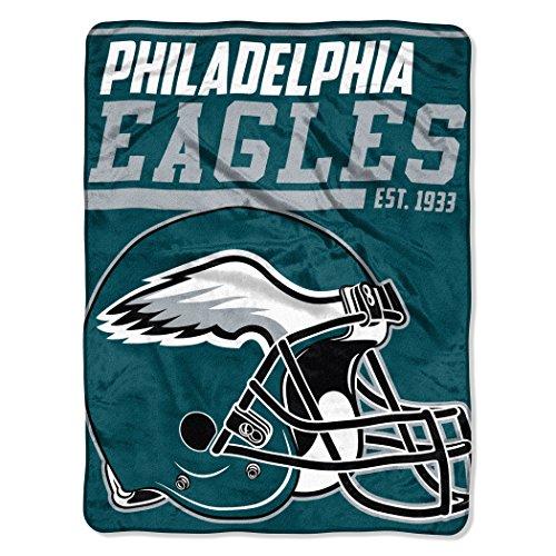 y NFL Philadelphia Eagles 40-Yard Dash Micro Raschel Überwurf Plüschdecke 117 x 152 cm , Grün/Midnight Green ()