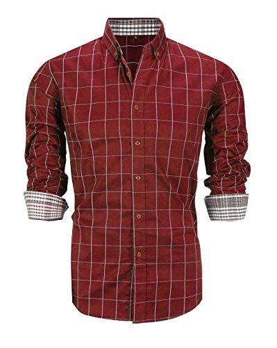 Schonlos Herren Hemd Kariert Kentkragen Langarm Shirts Businesshemd aus Baumwolle(Rot,L)