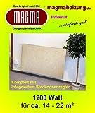 Magma Infrarotheizung 1200Watt (Bahama Marmor) mit Thermostatregler, Patent-Wandhalterungssystem u. integrierter Rückstrahlwanne