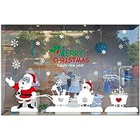 Jerome10Dan Pegatinas con Motivos navideños, Feliz Navidad, Papá Noel Tirando del Carrito Pegatinas de Vidrio Pegatinas de Ventana Grande Pegatinas para Puertas de Vidrio