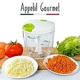 Appetit Gourmet Gemüseschneider Manueller Gemüseschneider mit 5 Edelstahl-Klingen großes Fassungsvermögen 900 ml zum Schneiden/Häckseln von Zwiebeln Petersilie 100% effektiv 2-in-1 Häcksler & Mixer
