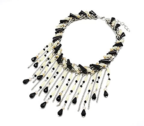 CC823 Bib Statement Necklace Choker and Waterfall Stones Multi-Chains and