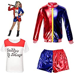 Ropa de Las Muchachas de los niños Suicide Squad Harley Quinn FancyDress Cosplay Conjunto de Traje de Traje Pantalones Cortos Conjunto de Camiseta Rojo (8-9 Years(130cm-140cm Child))