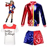 Vêtements Enfant et bébé Suicide Squad Harley Quinn FancyDress CosplayCostume Outfit Manteau Shorts T-Shirt Set Rouge (9-10 Years(140cm-150cm Child))