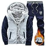 Herren Trainingsanzug Winter Warm Casual Mit Kapuze Zwei-Teilig Lange Ärmel Jogginganzug Sportanzug (Grün, Large)