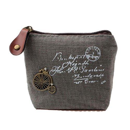 Internet Femmes Filles Toile Rétro sac à Pièce sac à main pochette carte affaire à main 10.5cmX8cmX3.5cm (Gris)