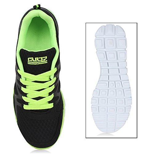 Damen Schuhe Laufschuhe Sneaker Runners Profilsohle Schwarz Neongrün Brooklyn
