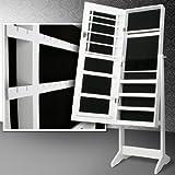 Miadomodo–Schmuckschrank auf Fuß mit Spiegel und Schlüssel 40,9x 139,5x 36,5cm (Farbe wählbar) weiß