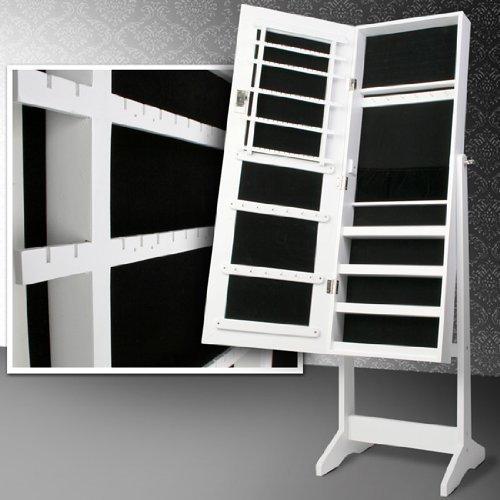 Miadomodo armadio portagioie specchiera gioielli armadietto organizer con specchio colore bianco ca. 40,9/139,5/36,5 cm …