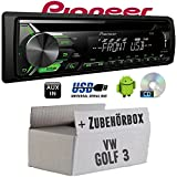 VW Golf 3 III - Pioneer DEH-1900UBG - CD | MP3 | USB | Android Autoradio - Einbauset