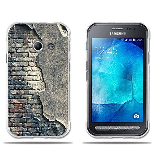 fubaoda Custodia Samsung Galaxy Xcover 3 G388F, [Muro Rotto] di silicio Chiaro Moda Creativo Chic Easy Grip Durevole Flex Vintage Retro Stile Protezione Smart TPU per Samsung Galaxy Xcover 3 G388F
