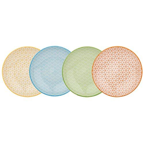 Vancasso NATSUKI 4pcs Assiettes Plates Porcelaine 27*27*2.5cm Assiette à Dessert Plat Service de Table Vaisselles 4 Motifs Style Japonais Asiatique