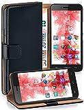 Pochette OneFlow pour Wiko Highway Pure housse Cover avec fentes pour cartes | Flip Case étui housse téléphone portable à rabat | Pochette téléphone portable étui de protection accessoires téléphone portable protection bumper en DEEP-BLACK
