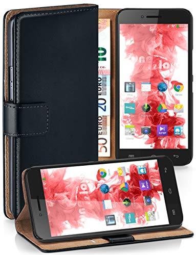 moex® Booklet mit Flip Funktion [360 Grad Voll-Schutz] für Wiko Highway Pure | Geldfach & Kartenfach + Stand-Funktion & Magnet-Verschluss, Schwarz