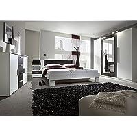 Schlafzimmer Komplett 4 Teilig 54023 Weiß / Nussbaum Schwarz