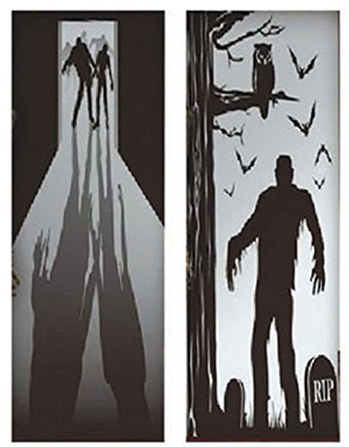 erdbeer-party - Halloween Party Dekoration Tür Cover Zombie Schatten Grafik, 2 Stück, 76x152cm , (Dekoration Tür Zombie)