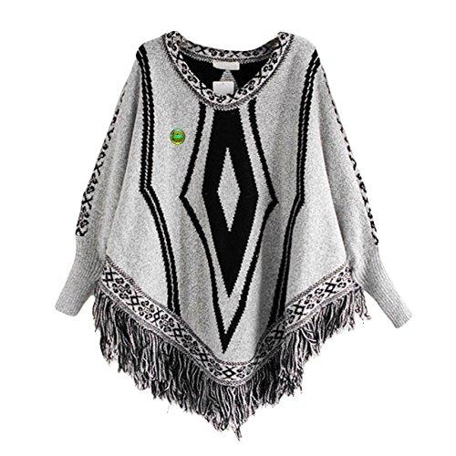 LOCOMO Tops (Luxury) - Poncho - Femme FFJ062 Light Gray Diamond