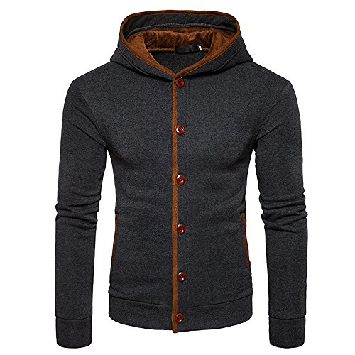 IMJONO Herrenkleidung Mens Warm Hoodies Sweatershirt Hooded Jumper Pullover Coat Jacket (X-Large,Dunkelgrau)