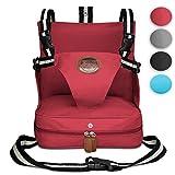 KIDUKU® Sedile Booster 4 diferente colores, seggiolino per Sedia, seggiolino portatile, rialzo da sedia per bambini e neonati, con cuscini gonfiabili e quattro cinture di sicurezza regolabili (Rosso)