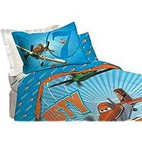 Aviones de Disney microfibra Juego de sábanas – solo doble  azul  para niños 29ac27540f5