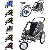 Leon Paplioshop folding bike trailer, buggy with front wheel, for 1 or 2 children, with 1 door, New Mimetico