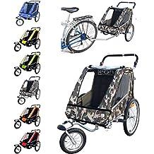 PAPILIOSHOP LEON Remolque carrito para el transporte con kit de footing jogging jogger de 1 o 2 Uno Dos niño niños bebè con la bici bicicleta rueda delantera giratoria 360° carro plegable cochecito de con amortiguador suspensión X bicicletas