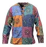 Shopoholic Fashion Mens Acid Washed Multicolored Patchwork Hippie Grandad Shirt Kurtha Tops (m)