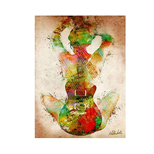 Zerama Aquarell-Gitarren-Mädchen Ansicht der Back-Muster Bedruckt Unframed Leinwand Ölgemälde Fall-Wand-Dekoration (Leinwand Malt)