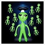 Relaxdays 10 x aufblasbares Alien, Marsmännchen Figur, Sci-Fi Party Deko, Karneval, Wasserspielzeug, Aufblasalien groß, grün