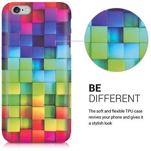 kwmobile Hülle für Apple iPhone 6 / 6S - TPU Silikon Backcover Case Handy Schutzhülle - Cover Regenbogen Würfel Design Mehrfarbig Grün Blau Regenbogen Würfel Grün Blau