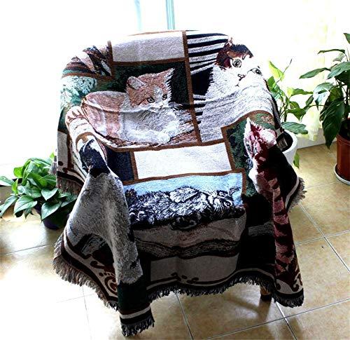LPZF Baumwolle Gewebter Quaste Dekorativ Decke Zu Werfen, Mit Franse Sofaüberwurf Mehrzweck Gestrickt Möbel-Cover Tapisserie Katzen Muster Für Stuhl Sofa-125x150cm -