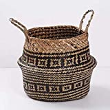 SODIAL Seagrass cesta de cesteria de mimbre plegable colgante maceta de flores maceta sucia de...