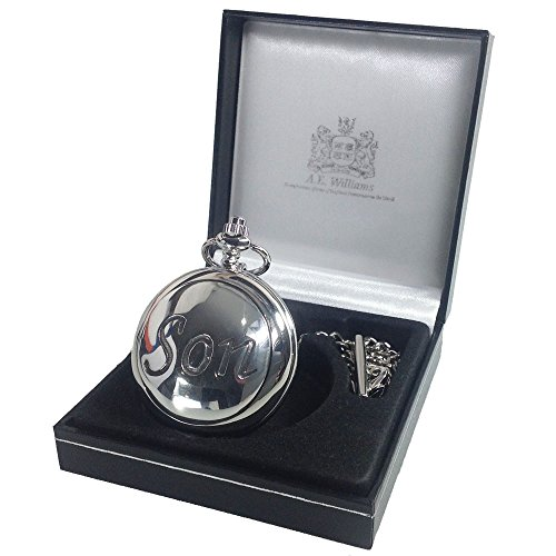 30th Birthday Gift, Engraved Pocket Watch with Pewter Son Case in a Presentation Box