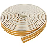 Fixman 678898 Self-Adhesive E-Profile White Weather Strip Draught Excluder - 3-5mm Gap Seal 15m Length