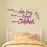 yiyiyaya Personalisierte Namen Aufkleber für Mädchen Twinkle Twinkle Little Star Zitat Aufkleber Wandtattoos Dekor Kinderzimmer Kinderzimmer Aufkleber weiß 80 x 43 cm