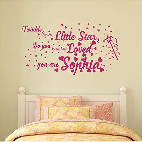 yiyiyaya Personalisierte Namen Aufkleber für Mädchen Twinkle Twinkle Little Star Zitat Aufkleber Wandtattoos Dekor Kinderzimmer Kinderzimmer Aufkleber 80 x 43 cm