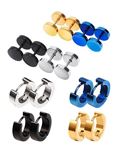 Mudder Screw Stud Earrings Hypoallergenic Hoop Piercings, 8 Pairs