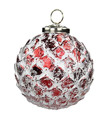 Decoline Glas Weihnachtskugeln 4 Stück Ananas Ø 10cm rot